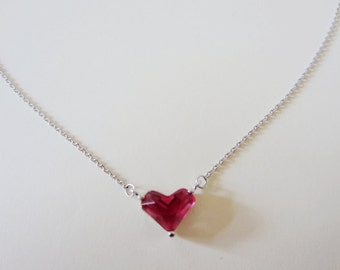 "Stunning red corundum heart with 925 sterling silver necklace 18"" - 20 length adjustable"