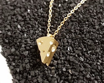 18K Gold Filled Brass Sliced Cheese Piece Pendant Necklace Simple & Cute, Tiny, Dainty