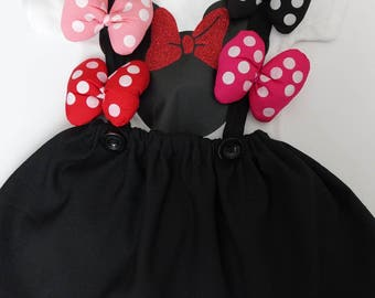Minnie Mouse Bow clip and Ponytail