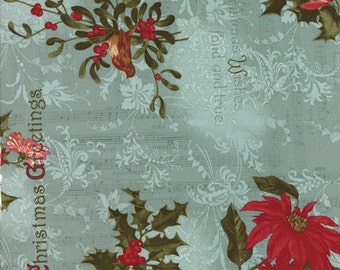 By The HALF YARD - Winterlude by 3 Sisters for Moda Fabrics, #44040-17 Frost, Winter Collage on Aqua, Sheet Music, Mistletoe, Poinsettia