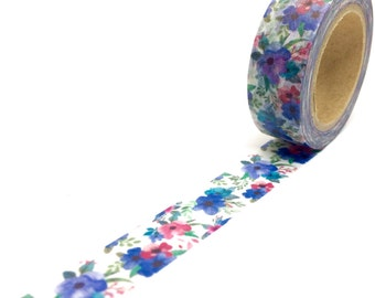 Blue and Pink Flowers Washi Tape - Floral Poppies