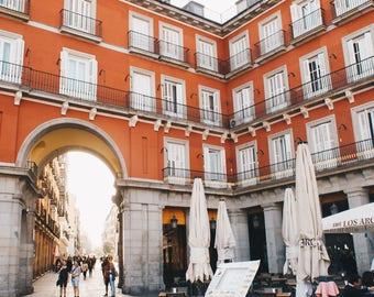 Madrid, Spain, Architecture, Orange, Plaza Mayor, Spanish, Travel, Print, Photograph, Fine Art, Wall Art, Warm, Morning, Balconies, Windows