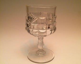 EAPG Flint Glass Goblet Waffle and Starburst Pattern