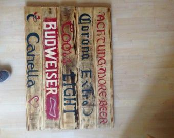 Bar sign reclaimed timber