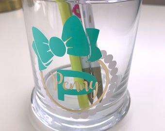 Pearl Monogram Pencil Cup//Assistant Gift//Glam Gift//Makeup Brush Holder