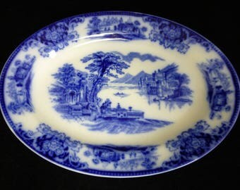 WH Grindley Flow Blue Oval Meat Platter – Cobalt Blue Shanghai Pattern - 10 inch long – England – VGC