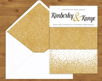 gold glitter belly bands and envelope liners gold wedding glitter wedding wedding invitation - Wedding Invitation Belly Band