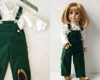 """Green Velvet Overalls, Satin Blouse, Gold Shoes & Ribbon, Pleasant Company Holiday Bibs Outfit, Fits American Girl or other 18"""" Dolls, 1990s"""