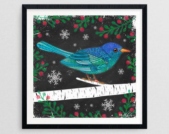Holiday Bird- Christmas Gifts- Prints for Decor- Holiday Art- Noel- Xmas -Bird -Boxing Day