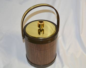 Vintage Kromex 1970's Faux Wood Vinyl Ice Bucket