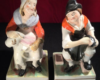 The Cobbler & His Wife - Pair of Staffordshire Figures - John Hall? - 19th Century