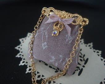 Brocade silk ladies purse 1/12th scale