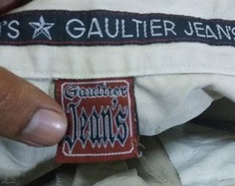 Vintage Gaultier jeans 3 quater pants for women/waist 26-27/brown/designer/fashion