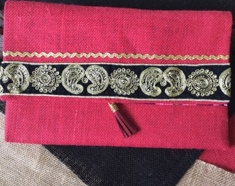 Red Hessian Clutch with Indian Embroidery