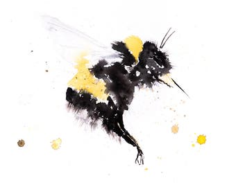 Bumblebee No.3 - Signed limited edition print of my original watercolour painting of a Bumble bee