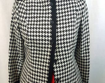 Vintage Alfani - 1980s 90s, Black and white, Houndstooth, Collarless, No collar, Button front blazer, Size 12P