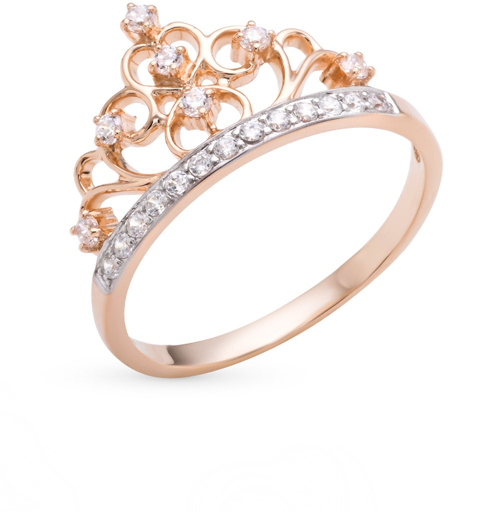 14k Rose Gold CROWN Ring Cz Crown Ring Princess Ring Tiara