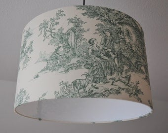 "Ceiling lamp ""Toile de Jouy"" (green)"