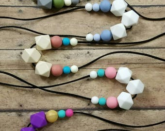 SALE! Teething necklace, nursing necklace, teether, chewelry, hexagon necklace