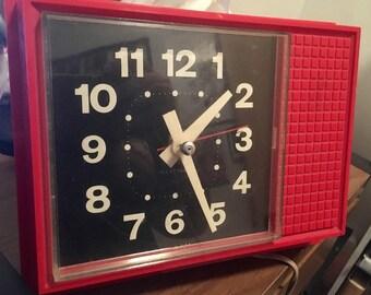 Fantastic Mod Black Red Vintage Mid Century Westclock Kitchen Clock 1950'S Working!