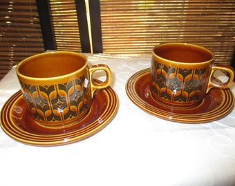 Hornsea Heirloom Retro Vintage Brown Cup and Saucer Set (Two Cups and Saucers)