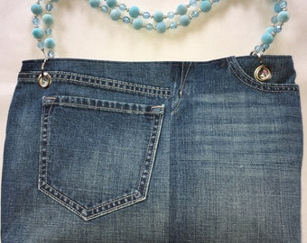 Denim Purse with Beaded Handles and Matching Coin Purse
