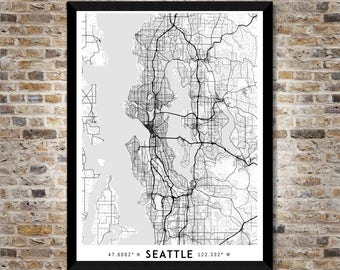Every Road in Seattle map art | Printable Seattle map print, Seattle print, Seattle poster, Seattle art, Seattle wall art, Washington map