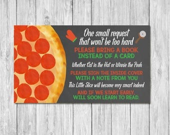 Pizza Party Baby Shower Book Insert Card - Baby Shower Please Bring a Book Instead of a Card - Couples Baby Shower Invite Insert Chalkboard