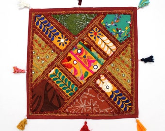 Handmade Hippie Gypsy Home Decor Ethnic Multi color Embroidered Hippy Patchwork Bohemian Pillow Shams Couch Cushion Cover Case G824