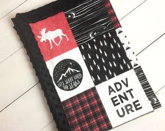 Happy camper blanket, Baby minky blanket  Moose bear blanket, red black woodland blanket, boy blanket, buffalo plaid, baby shower gift