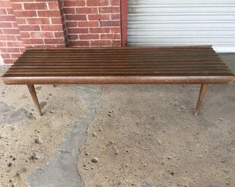 Vintage Mid Century Modern Slat Bench