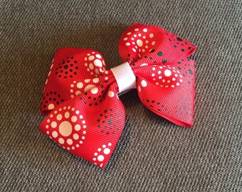 Red with White and Black Circles Hair Bow