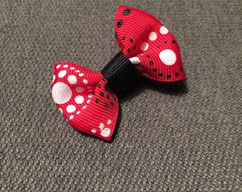 Red Circle Dot Tuxedo Hair Clip