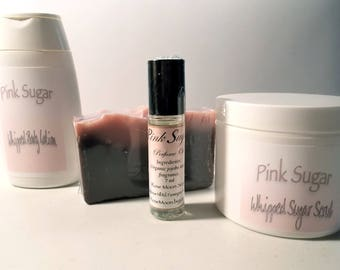 Pink Sugar Gift Set - Perfume Oil, Sugar Scrub, Body Lotion, Cold Process Soap - Mango Butter, Raspberry Seed Oil, Organic Camellia Oil