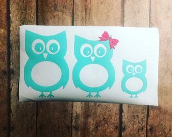 Owl Family Decal - Owl stick figure family - Owl Sticker -