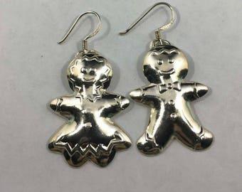 Vintage Sterling Silver Gingerbread People Earrings
