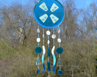 Fused Glass Wind Chimes | Sun Catcher | Wall Hanging | Turquoise Blue Wall Art | Abstract Wind Mill Motif | Home Decor Accent Piece