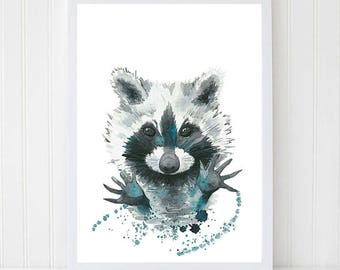 Raccoon Watercolor. Animal painting. Instant download. Watercolor Printable. Baby room decor. Digital poster. Nursery decor.