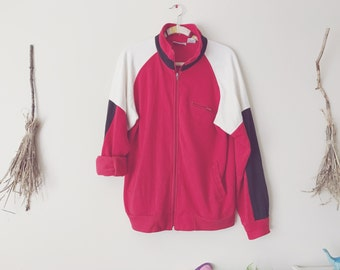 Red Oversized Zip Sweater