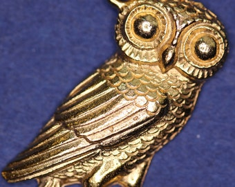 Greek Owl (24mm) Pendant - Gold Plated - with information card [GOPG]
