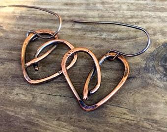 Rustic Copper Heart Earrings