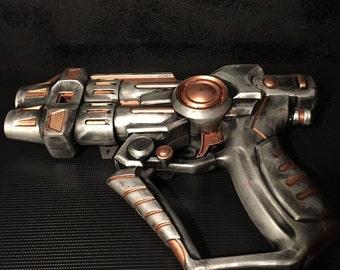 Steampunk Cosplay Foam Blaster Ray LARP Gun, Steam Shooter Hand Painted Prop Gun Silver & Gold