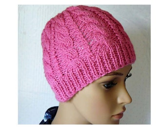 Knitted Cable Beanie, Womens Braided Knit Hats, Cable Knit Hat, Girls Knit Beanies, Pink Hats, Cable Knit Hats
