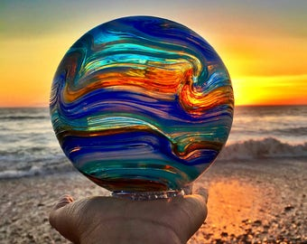 Stunning Hand Blown Glass Float Photo Art | Ocean Print | Seaglass | Sunset Wall Art | California Beach Photography | Coastal Living Print
