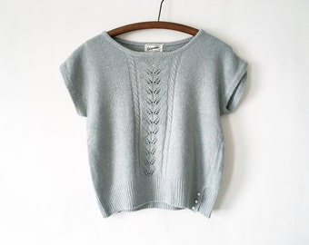 Vintage Seafoam 80s Cable Sweater - Pale Blue-Green Sweater Crop Top