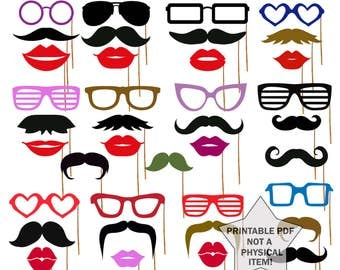 Photo Booth Props Printable props Printable Mustache Photo Booth Props Glasses Props Lips photobooth props Party props Large set props