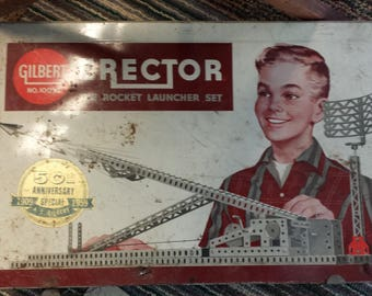 Vintage Erector Rocket Launcher Set 50th Anniversary