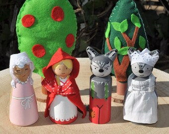 Peg dolls, little Red Riding Hood - The little Red Rinding Hood-children's toys in wood-storybook - 9 cm