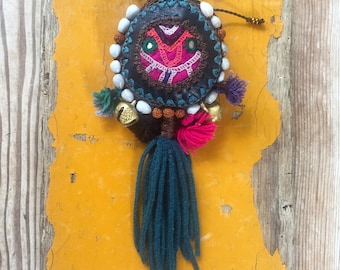 Leather Medicine Bag Necklace - 'SHAKE YO TAILFEATHER!' With Recycled Vintage Rajasthani Fabric, Bells + Tassles With Added Hidden Treasures