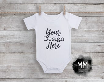 Blank Baby Bodysuit Mockup, White Bodysuit Display, Apparel Mockup, White Short Sleeve Bodysuit Hanging, Add Your Design Digital Download